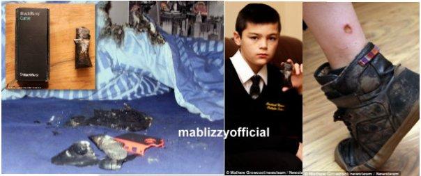 school boy, blackberry explodes